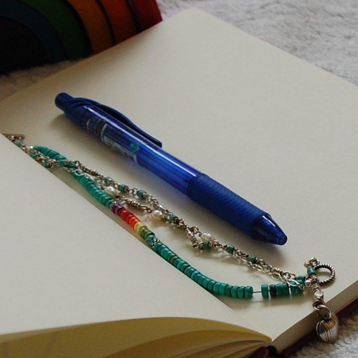 Elizabeth Lymer pen notebook Brookoli bracelet