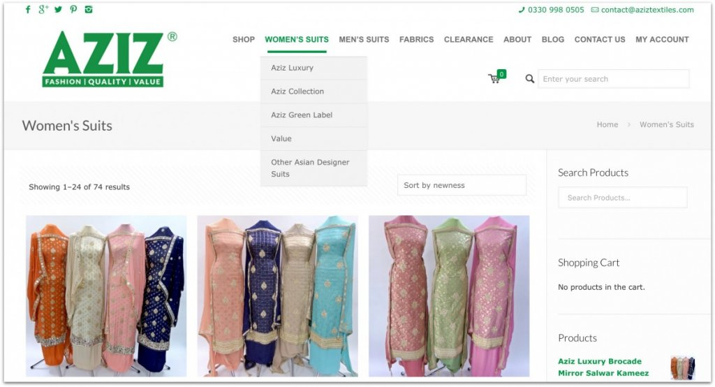 Aziz Textiles website