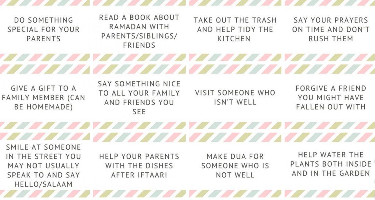 Ramadan Calendars and 30 Good Deeds