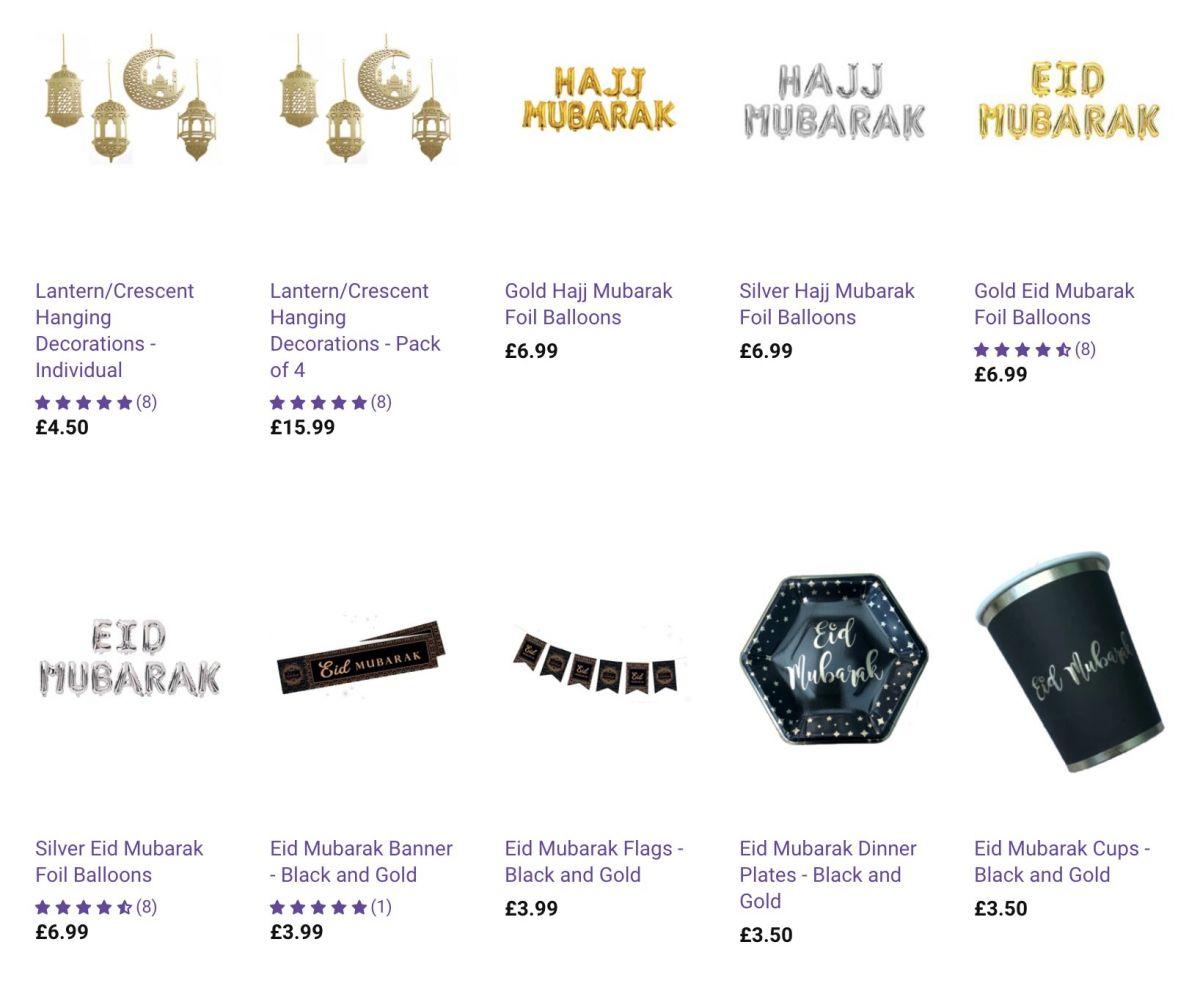Screenshot of Anafiya Gifts Eid and Hajj products