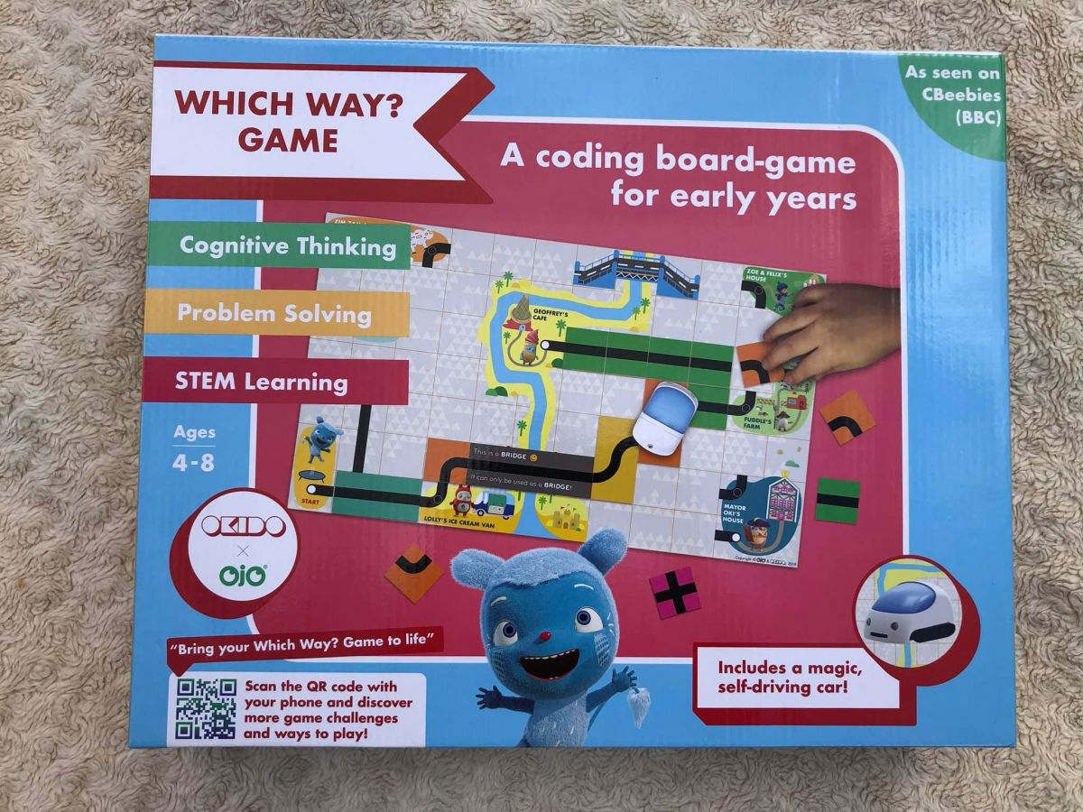 picture of the box of Okido Which Way game