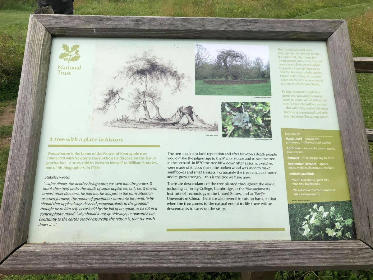 Signage about the orchard and apple tree at Woolsthorpe Manor