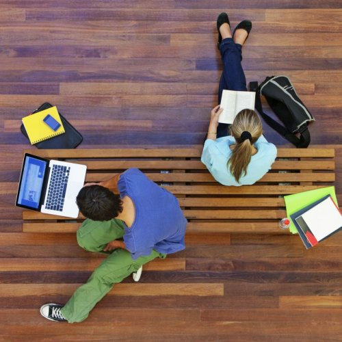 Children studying on floor